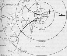 杜立特计划的行动路线,但1架却飞往了苏联