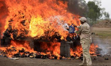 Anti-Narcotics Force burns drugs in Pakistani Peshawar