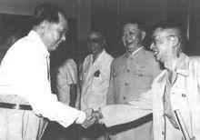 毛泽东主席接见文艺工作者,右二为中国戏曲研究院首任院长梅兰芳