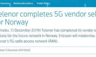 挪威电信转投爱立信5G 4G时代与华为一分6合合作 10年