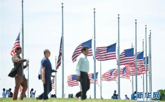 美国华盛顿降半旗志哀奥兰多枪击案遇难者