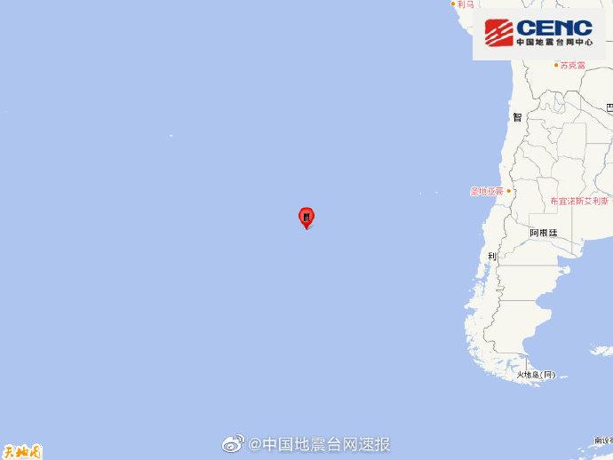 西智利海岭发生5.4级地震 震源深度10千米