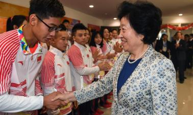 Sun Chunlan meets Chinese delegation to 18th Asian Games in Jakarta, Indonesia