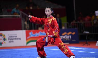 Indonesian president watches Women's Taijijian contest in 18th Asian Games