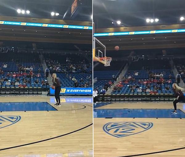 美大学女孩生日当天投篮大赛4项球全中引欢呼